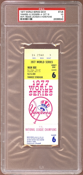1977 World Series Game 6 Ticket Stub Reggie Jackson 3 Home Runs PSA 3 VG