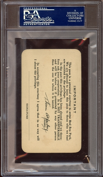 1933 Boston Red Sox Fenway Park Season Pass PSA AUTHENTIC