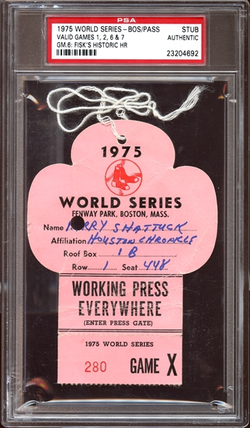 1975 World Series Boston Press Pass Stub Fisk Home Run Game 6  PSA AUTHENTIC