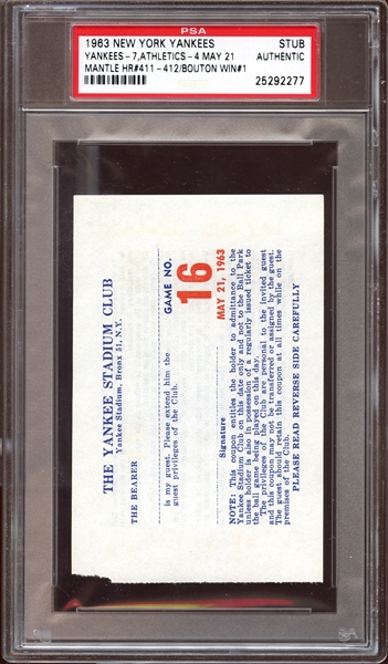 1963 New York Yankees May 21 Ticket Stub Mantle Home Run #411 PSA AUTHENTIC