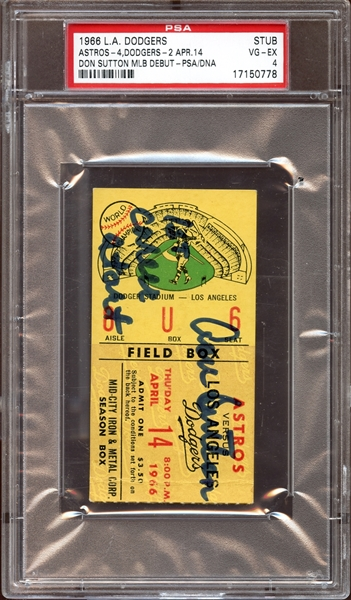 1966 Los Angeles Dodgers April 14 Don Sutton Signed Ticket Stub From MLB Debut PSA/DNA-PSA 4 VG/EX