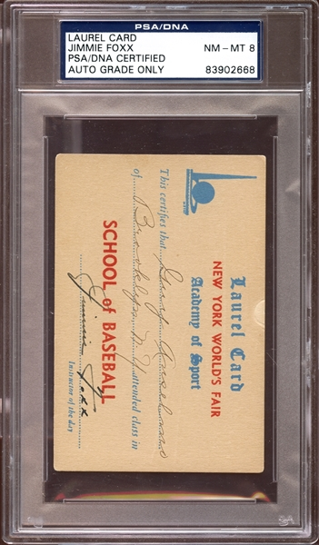 Jimmie Foxx Signed Laurel Card PSA/DNA 8 NM/MT