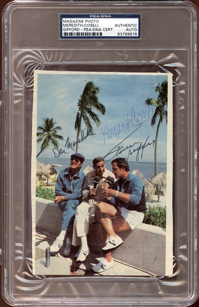 Don Meredith/Howard Cosell/Frank Gifford Signed Magazine Photo PSA/DNA AUTHENTIC