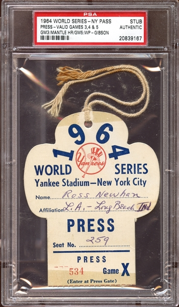 1964 World Series New York Press Pass Stub PSA AUTHENTIC