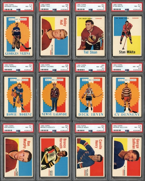 1960 Topps Hockey Exceptionally High Grade Complete Set With PSA Graded