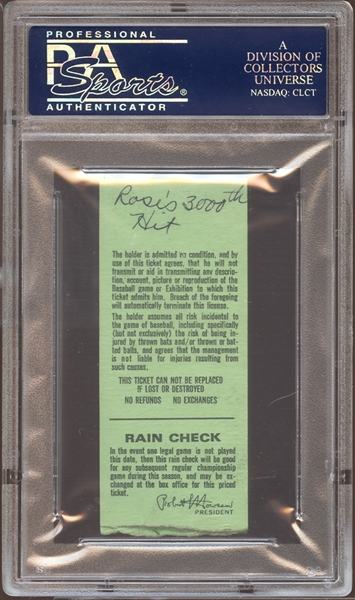 1978 Cincinnati Reds Ticket Stub Pete Rose 3000th Hit PSA AUTHENTIC