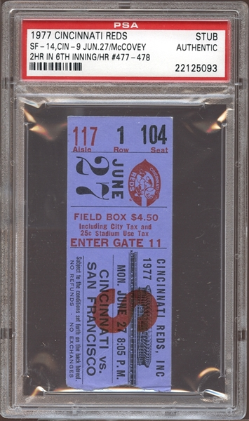 1977 Cincinnati Reds Ticket Stub McCovey 2 Home Runs in One Inning PSA AUTHENTIC