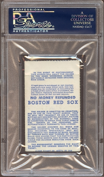 1977 Boston Red Sox Ticket Stub Carl Yastrzemski Home Runs #349 and #350, Billy Martin and Reggie Jackson Fight PSA AUTHENTIC