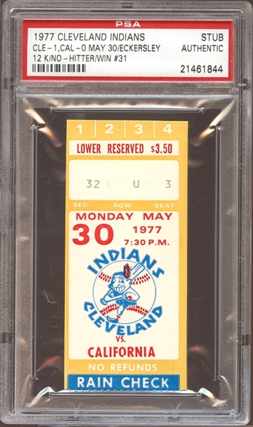 1977 Cleveland Indians Ticket Stub Eckersley No-Hitter PSA AUTHENTIC