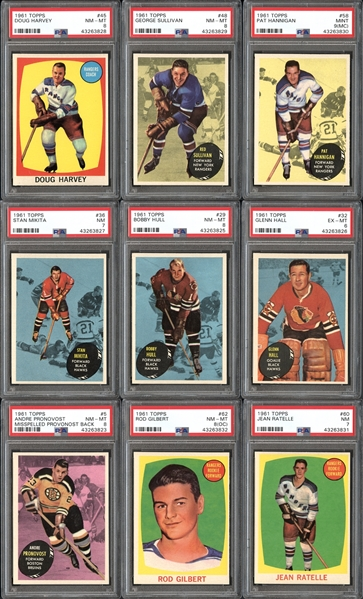 1961 Topps Hockey High Grade Complete Set With PSA Graded