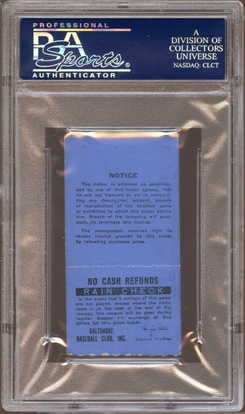 1977 Baltimore Orioles Ticket Stub Eddie Murray MLB Debut PSA AUTHENTIC