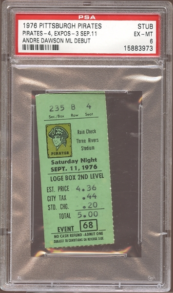 1976 Pittsburgh Pirates Ticket Stub Andre Dawson MLB Debut PSA AUTHENTIC