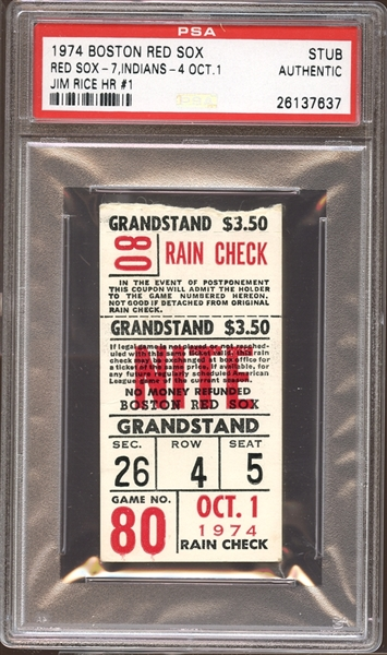 1974 Boston Red Sox Ticket Stub Jim Rice First Home Run PSA AUTHENTIC