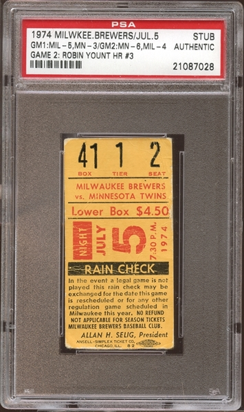 1974 Milwaukee Brewers Ticket Stub Robin Yount Home Run #3 PSA AUTHENTIC