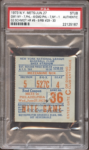 1973 New York Mets Ticket Stub Mike Schmidt Home Run #8 and #9 PSA AUTHENTIC