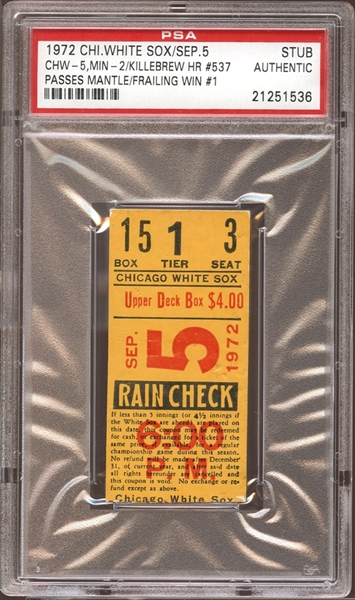 1972 Chicago White Sox Ticket Stub Harmon Killebrew Home Run #537 Passes Mantle PSA AUTHENTIC