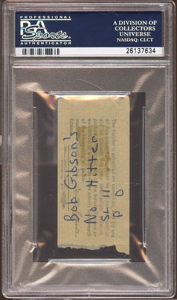 1971 Pittsburgh Pirates Ticket Stub Bob Gibson No-Hitter PSA AUTHENTIC