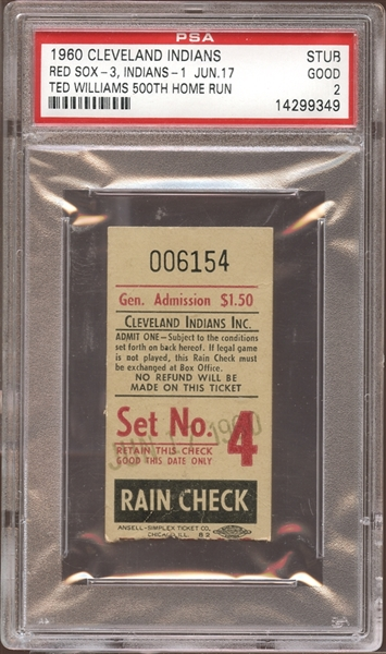 1960 Cleveland Indians Ticket Stub Ted Williams 500th Home Run PSA 2 GOOD