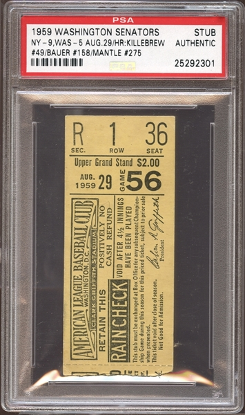 1959 Washington Senators Ticket Stub Killebrew/Bauer/Mantle Home Runs PSA AUTHENTIC