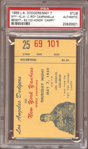1959 Los Angeles Dodgers vs New York Yankees Ticket Stub Roy Campanella Benefit PSA AUTHENTIC