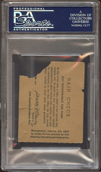 1958 Los Angeles Dodgers Ticket Stub Gil Hodges 300th Home Run PSA AUTHENTIC