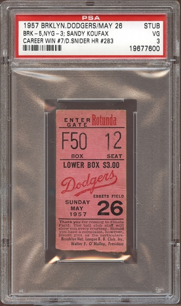 1957 Brooklyn Dodgers Ticket Stub Koufax Win #7 Snider Home Run PSA 3 VG