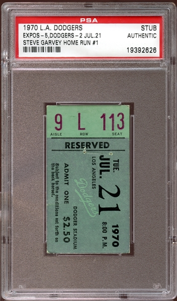 1970 Los Angeles Dodgers Ticket Stub Steve Garvey 1st Home Run PSA AUTHENTIC