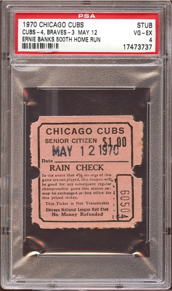 1970 Chicago Cubs Ticket Stub Ernie Banks 500th Home Run PSA AUTHENTIC
