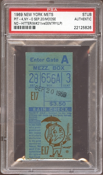 1969 New York Mets Ticket Stub Moose No-Hitter PSA AUTHENTIC
