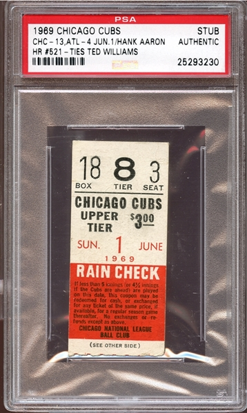1969 Chicago Cubs Ticket Stub Hank Aaron Home Run #521 Ties Ted Williams PSA AUTHENTIC