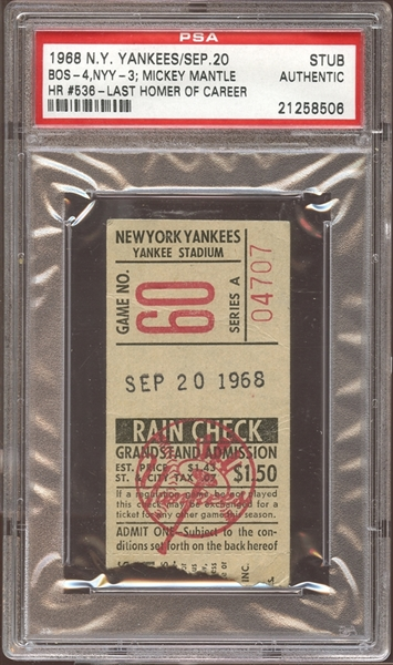 1968 New York Yankees Ticket Stub Mickey Mantle Home Run #536-The Last of His Career PSA AUTHENTIC