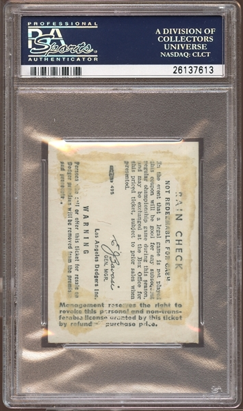1968 Los Angeles Dodgers Ticket Stub Don Drysdale 58 2/3 Scoreless Innings PSA AUTHENTIC