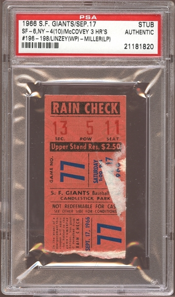 1966 San Francisco Giants Ticket Stub Willie McCovey 3 Home Runs PSA AUTHENTIC