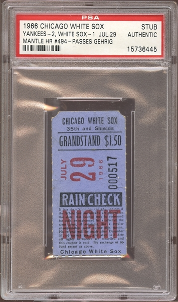 1966 Chicago White Sox Ticket Stub Mickey Mantle Home Run #494 Passes Gehrig PSA AUTHENTIC