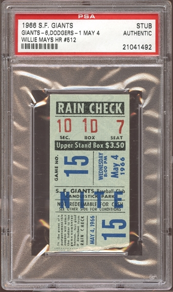 1966 San Francisco Giants Ticket Stub Willie Mays Home Run #512 PSA AUTHENTIC