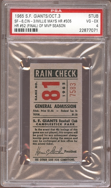 1965 San Francisco Giants Ticket Stub Willie Mays Home Run #505 PSA 4 VG/EX