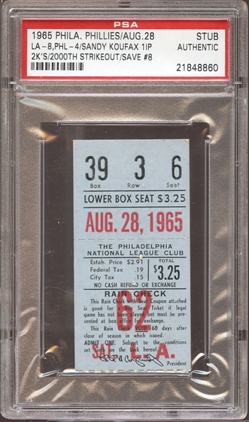 1965 Philadelphia Phillies Ticket Stub Sandy Koufax 2000th Strikeout PSA AUTHENTIC