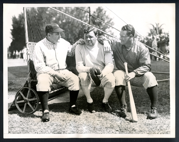 1934 Babe Ruth, Lou Gehrig and Joe McCarthy Type I Original Photograph PSA/DNA