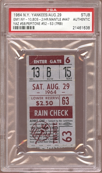 1964 New York Yankees Ticket Stub Mickey Mantle Home Run #447 PSA AUTHENTIC