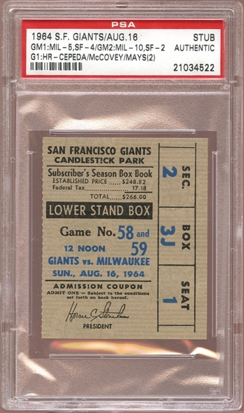 1964 San Francisco Giants Ticket Stub Cepeda/McCovey/Mays (2) Home Runs PSA AUTHENTIC