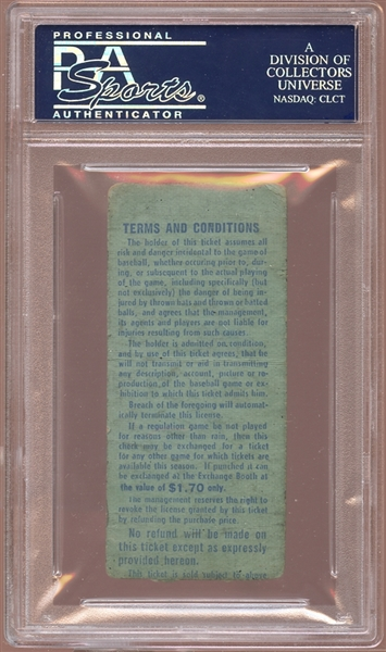 1964 New York Mets Ticket Stub Jim Bunning Perfect Game PSA AUTHENTIC