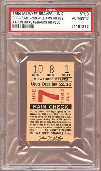 1964 Milwaukee Braves Ticket Stub Hank Aaron (348) and Ernie Banks (360) Home Runs PSA AUTHENTIC