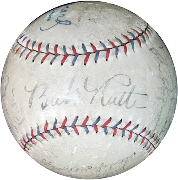1930 New York Yankees Team-Signed OAL (Barnard) Ball with (17) Signatures Featuring Ruth and Gehrig