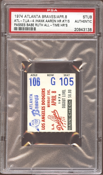 1974 Atlanta Braves Ticket Stub Hank Aaron Home Run #715 Passes Babe Ruth All-Time PSA AUTHENTIC