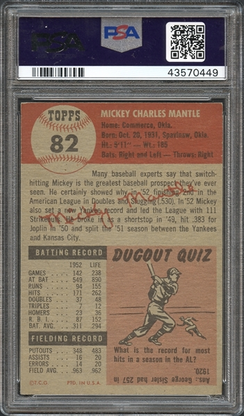 1953 Topps #82 Mickey Mantle PSA Authentic Altered