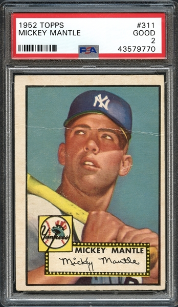 1952 Topps #311 Mickey Mantle PSA 2 GOOD