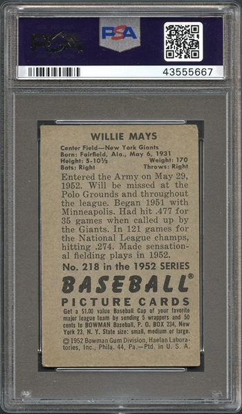 1952 Bowman #218 Willie Mays PSA 2.5 GOOD+