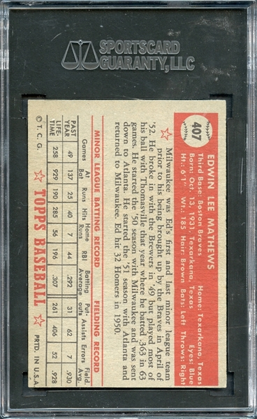 1952 Topps #407 Ed Mathews Rookie High# SGC AUTHENTIC