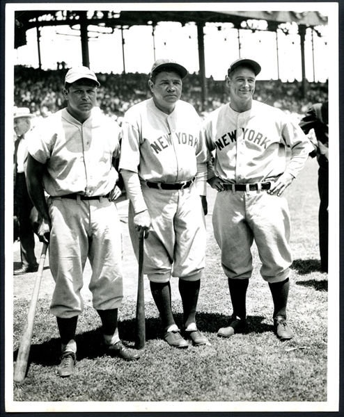 1934 All Star Game Type II Original Photograph Featuring Foxx, Ruth, and Gehrig PSA/DNA