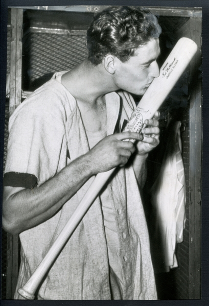 1941 Ted Williams Type III Photograph Kissing Bat at End of .406 Season PSA/DNA